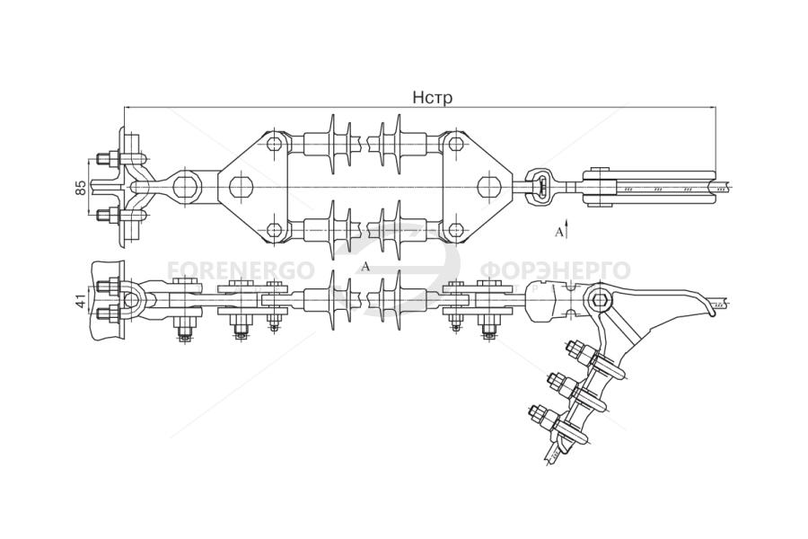 Изолирующие подвески двухцепные типа ИПД с общим креплением цепей к опоре