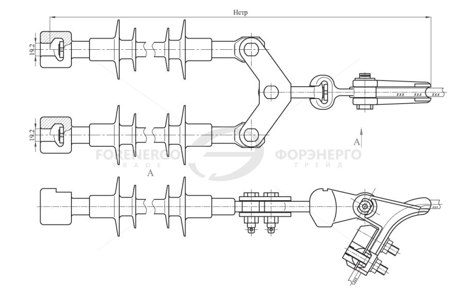 Изолирующие подвески двухцепные типа ИПРД с раздельным креплением цепей к опоре