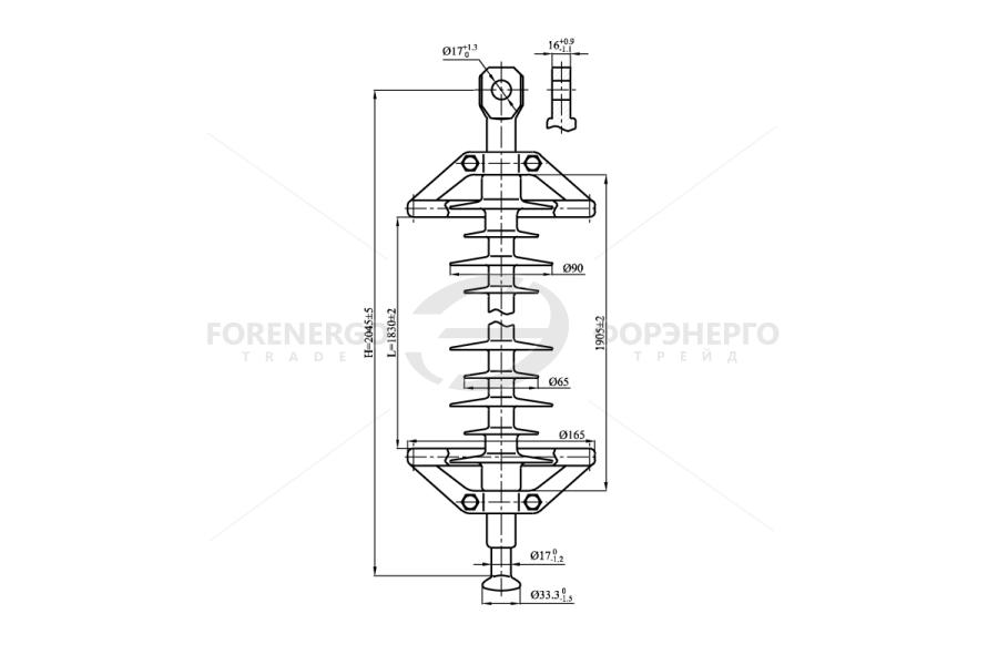 Изоляторы линейные подвесные полимерные типа ЛК 70/220-И, ЛК120/220-И на напряжение 220 кВ