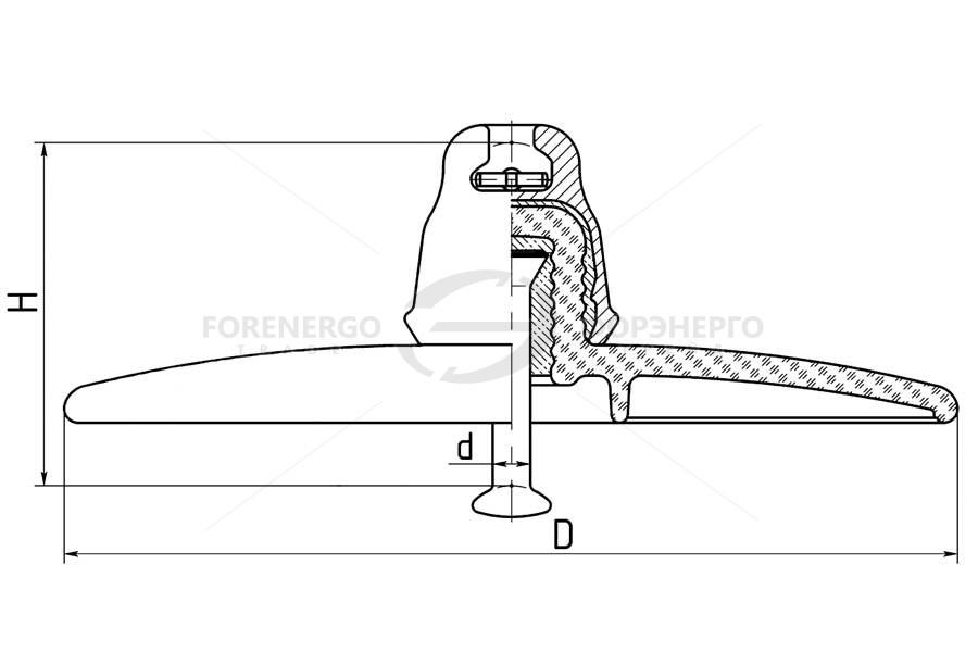 Изоляторы линейные подвесные стеклянные тарельчатые  с аэродинамическим профилем изоляционной детали типа U120BA