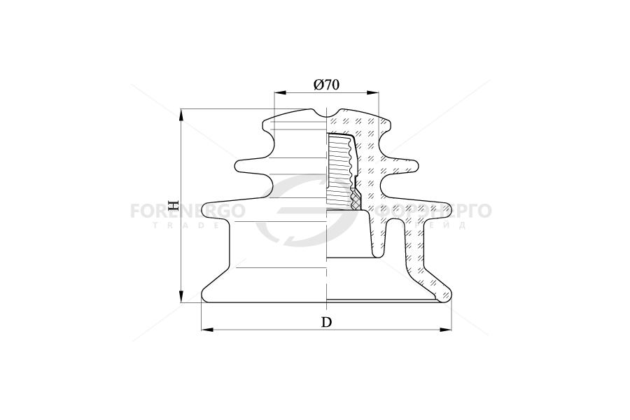 Изоляторы линейные  штыревые стеклянные  типа ШС ЕД