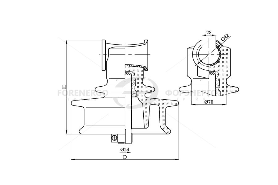 Изоляторы линейные штыревые стеклянные типа ШСТ УД