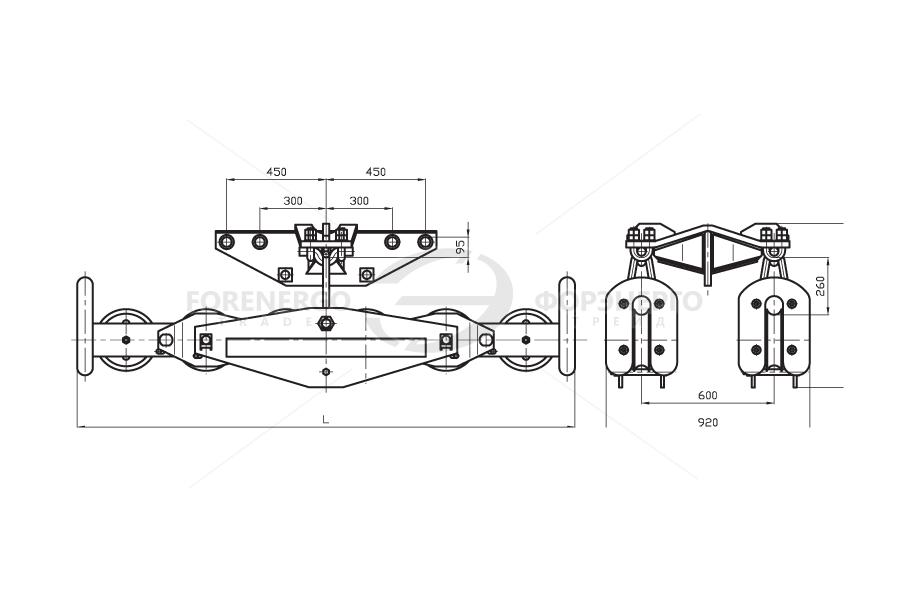Подвесы многороликовые поддерживающие типа 2П6Р, 3П6Р, 4П6Р, 5П6Р