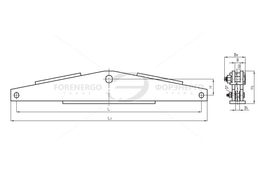 Коромысла двухцепные двухреберные  типа 2КД  с одной точкой крепления