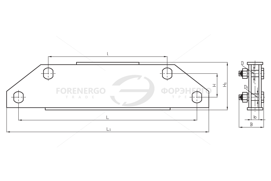 Коромысла двухцепные двухреберные типа 2КД2 с двумя точками крепления
