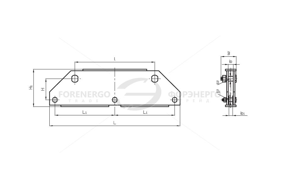 Коромысла трехцепные двухреберные типа 3КД2 с двумя точками крепления