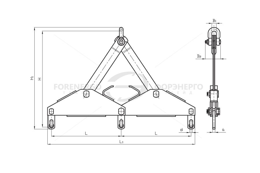 Коромысла трехцепные балансирные типа 3КБ с одной точкой крепления